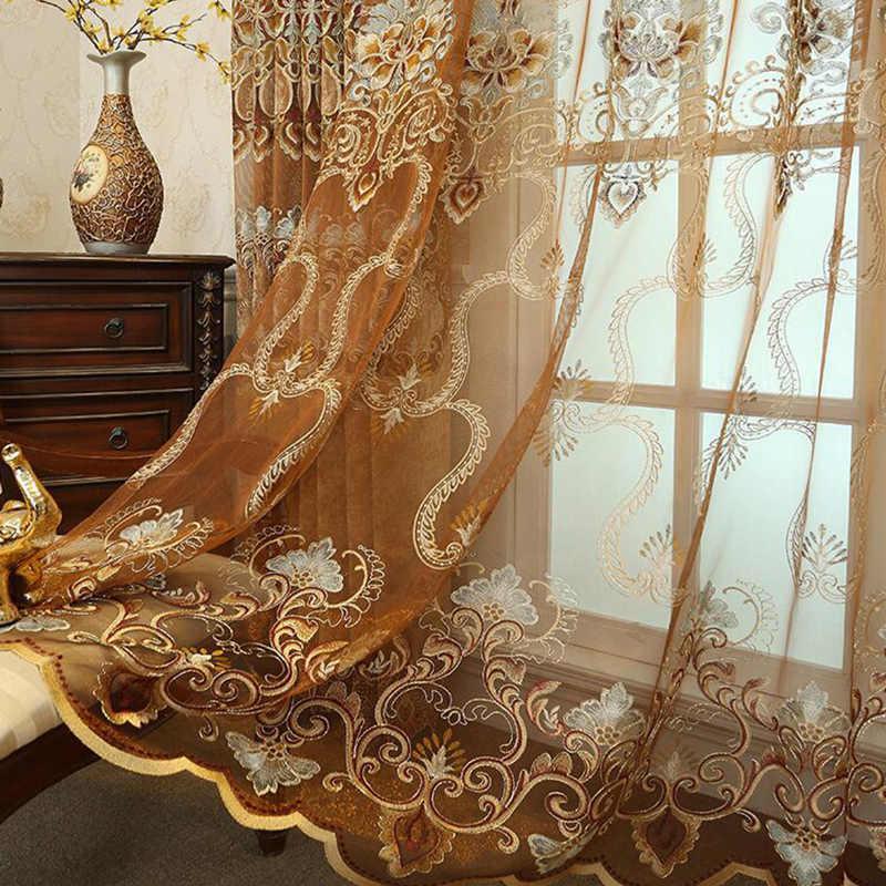 Роскошные золотые водные растворимая вышивка бежевые шторы для спальни синель затемненные занавески для гостиной прозрачные пользовательские M112D4