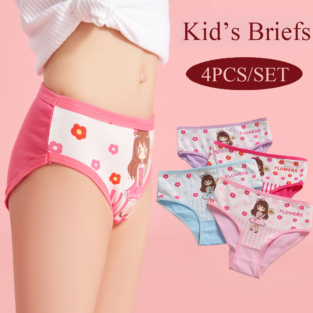 4Pcs/Set Cotton Soft Panties For Kids Girls Lovely Underwear Cute Cartoon Briefs Breathable Children Panty Kids Underpants