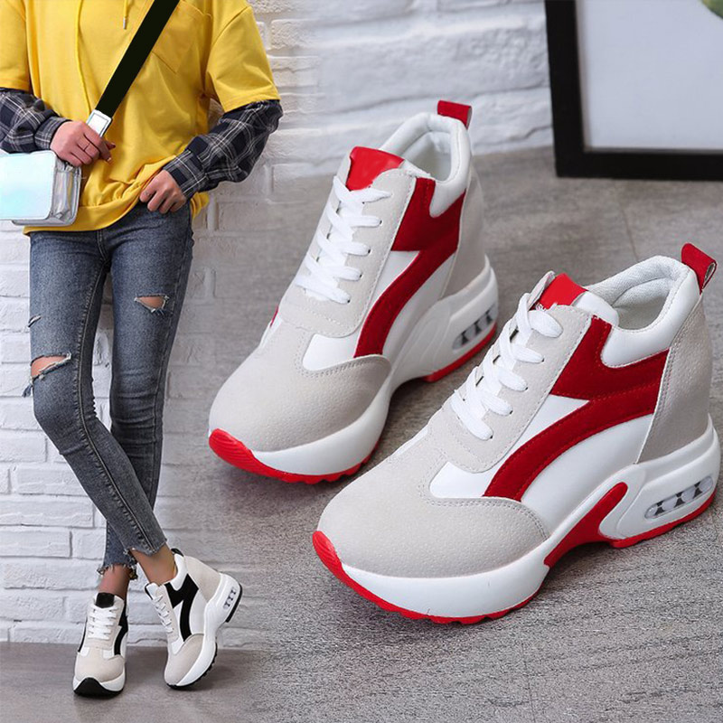 Women Platform Vulcanized Shoes Ladies Lace Up Casual Light Suede Shoes Woman Fashion Sneakers Female Ankle Heel Footwear 2020 2