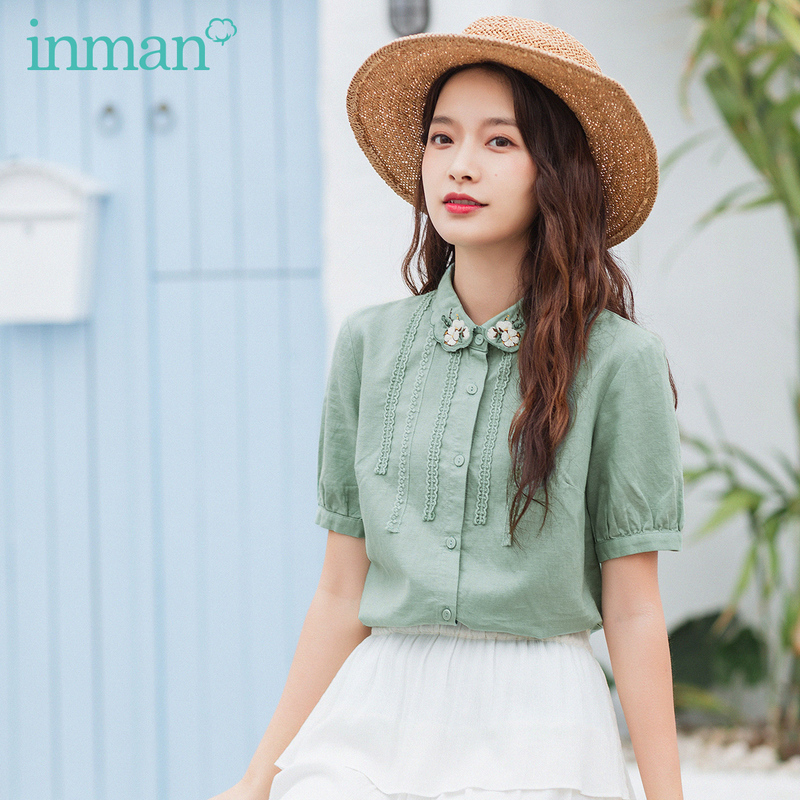 INMAN 2020 Summer New Arrival Loose Puff Sleeve Cotton And Linen Embroidered Short Sleeve Blouse