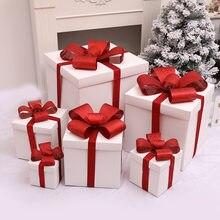 هدية الكريسماس لوازم تغليف الهدايا الأبيض حقائب للهدايا علب الهدايا زينة شجرة عيد الميلاد الديكور نافذة المشهد