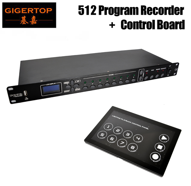 TIPTOP TP-D1342/TP-D1343 Disco Stage Lighting Program Control/Change Controller 1U DMX Recorder+Glass Control Panel 110V-220V