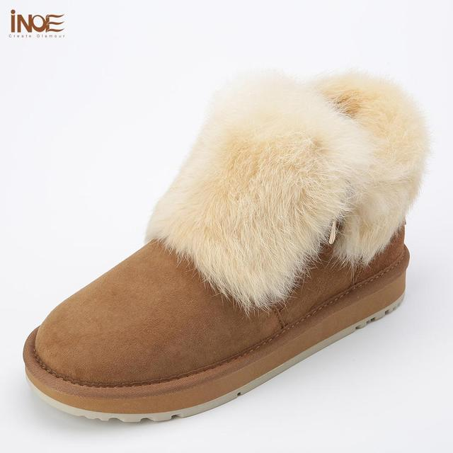 INOE Fashion Cow Suede Leather Real Rabbit Fur Woman Casual Winter Ankle Snow Boots for Women Short Winter Shoes Zipper Style