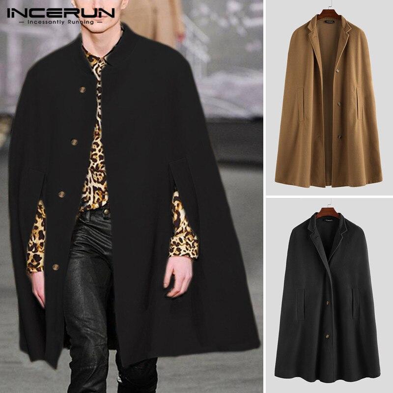 INCERUN Winter Fashion Men Cloak Coats Solid Streetwear Faux Blends Fleece Overcoat Stand Collar Trench Casual Jackets Cape 2019