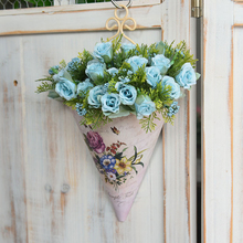 Plastic Wall Hanging Flower Vase Pot Wall Flower Basket Rural Flower Print Flower Planter Pot Garden Home Decoration
