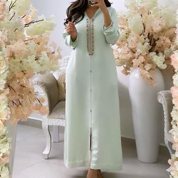 Diamond Long Dresses Women Kaftan Jellaba Moroccan 2021 African A Line Plain Elegant Casual Office Maxi Dresses Muslim Retro 1