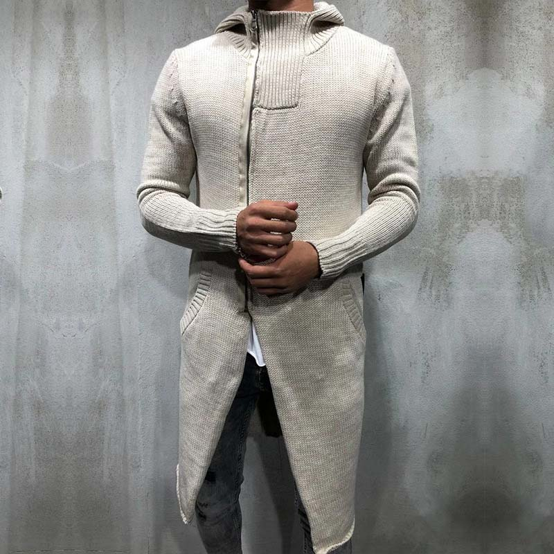 Autumn Winter Long Hooded Knitted Sweater Men Casual Slim Zipper Knitwear Cardigan Men Plus Size 3XL Sweater Dress Sueter Hombre