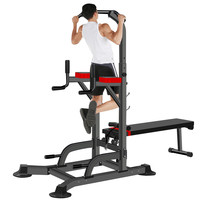Dip Station Pull Up Bar Power Tower - Chin Up Pull Up Multi-Grip Bar Station - Dip - VKR Knee Raise Indoor Outdoor Gym
