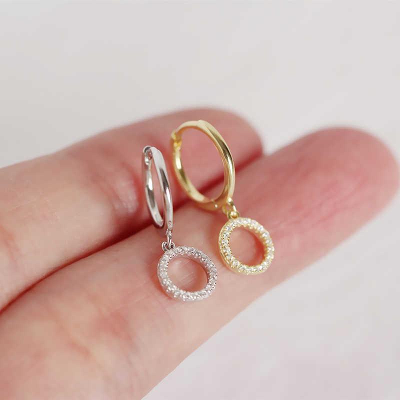 PONYKISS 100% 925 스털링 실버 유행 펜던트 기하학 후프 귀걸이 여성 패션 지르콘 귀걸이 액세서리 소녀 세련된 선물