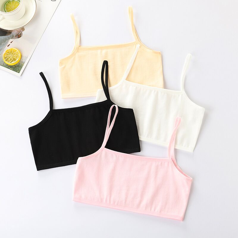 4Pc/lot Girls Bra Underwear Lingerie Kids Teens Teenage Young Adolescente Student Cotton Double Deck Solid Color 8-12Years 5