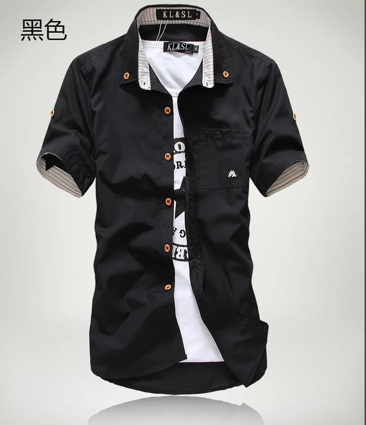 Priced at wholesale summer short sleeved shirt men's Slim fit Korean-style embroidered workwear business casual dress MEN'S shir