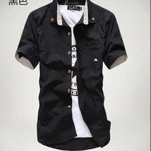 Priced at wholesale summer short sleeved shirt men's Slim fit Korean-style embro
