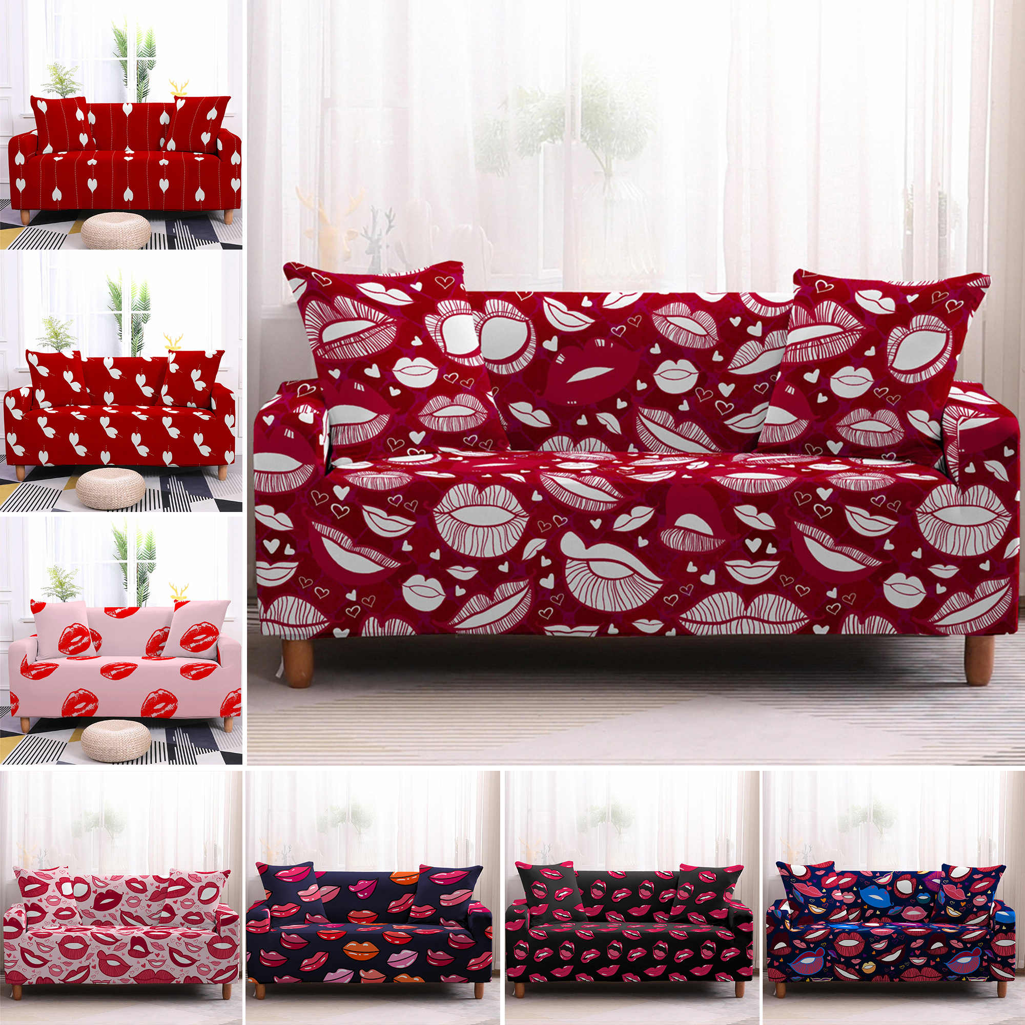 red sofa covers lips printed stretch sofa cover love heart elastic couch cover sectional sofa slipcovers for living room