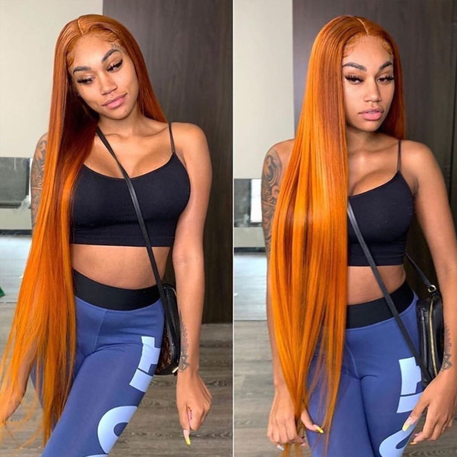 $ US $68.90 13x6 orange Lace Front Human Hair Rimi Wigs For Women Jet Black Silky Straight Wig Brazilian Blonde Lace Frontal Wig