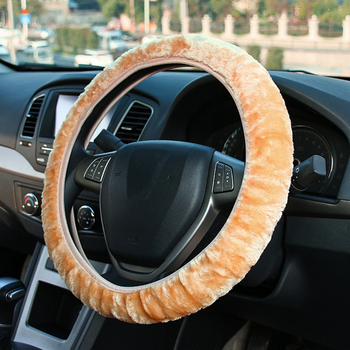 Warm Super Thick Plush Collar Soft Women Man Car Steering Wheel Cover Gearshift Handbrake Cover Protector Decoration image