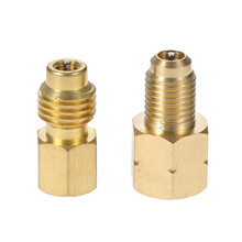 Yetaha R1234yf Hose Adapter 1/2 ACME LH Left Hand 1/4 SAE Female FL Brass Valve Core Car Air Conditioning Tools Fitting