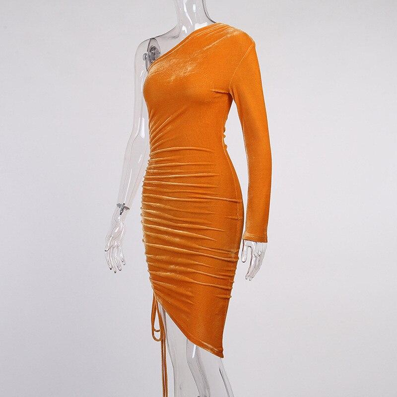 one shoulder midi dress12
