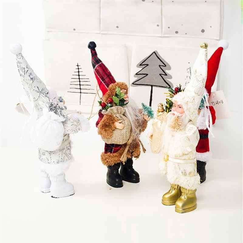 1 takım noel peluş yastıklar dekoratif kolye narin santa baba zanaat noel hediyesi otel ofis masaüstü süsleme
