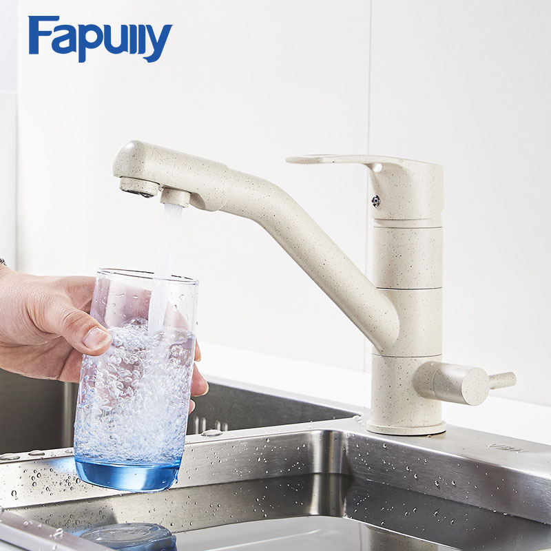 Fapully Kitchen Faucet Brass Sink Mixer Khaki Color Drink Water Tap 360 Degree Rotation Drinking Filter 623-33YM