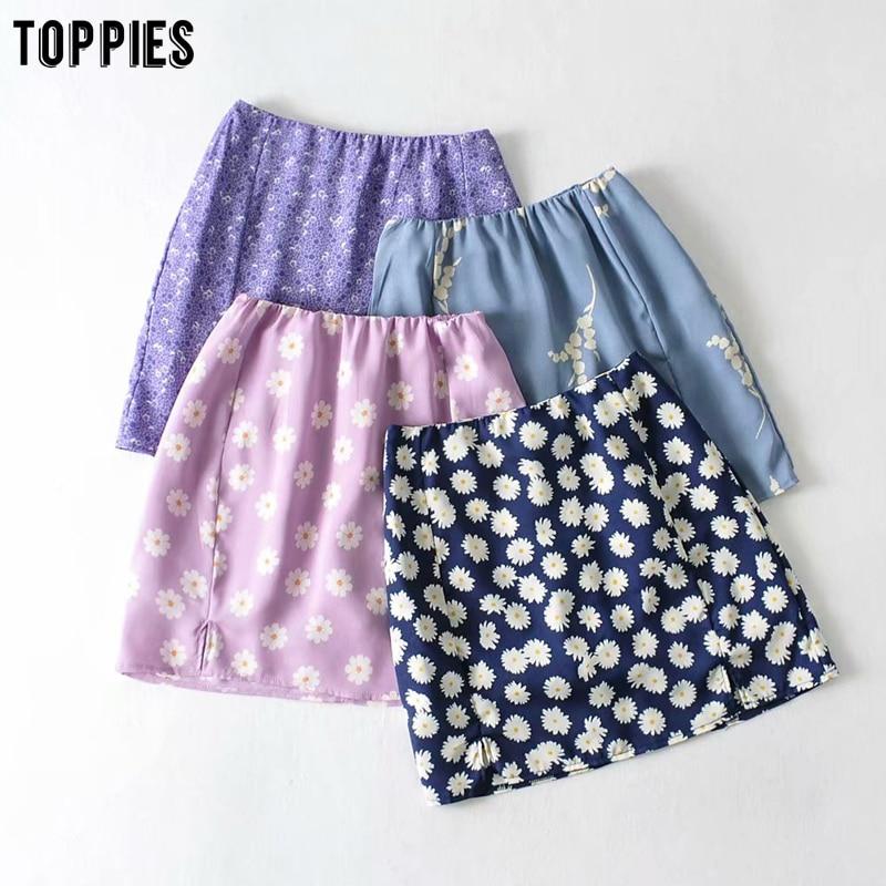 Toppies Sexy Split Daisy Printing Mini Skirts Womens High Waist Skirts Summer Faldas Vacation Holiday Clothes