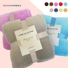 Cobertura de flanela macia cobertor de cama de cor sólida única rainha rei thow cobertores para a cama luz fina cobertores de flanela de lavagem mecânica