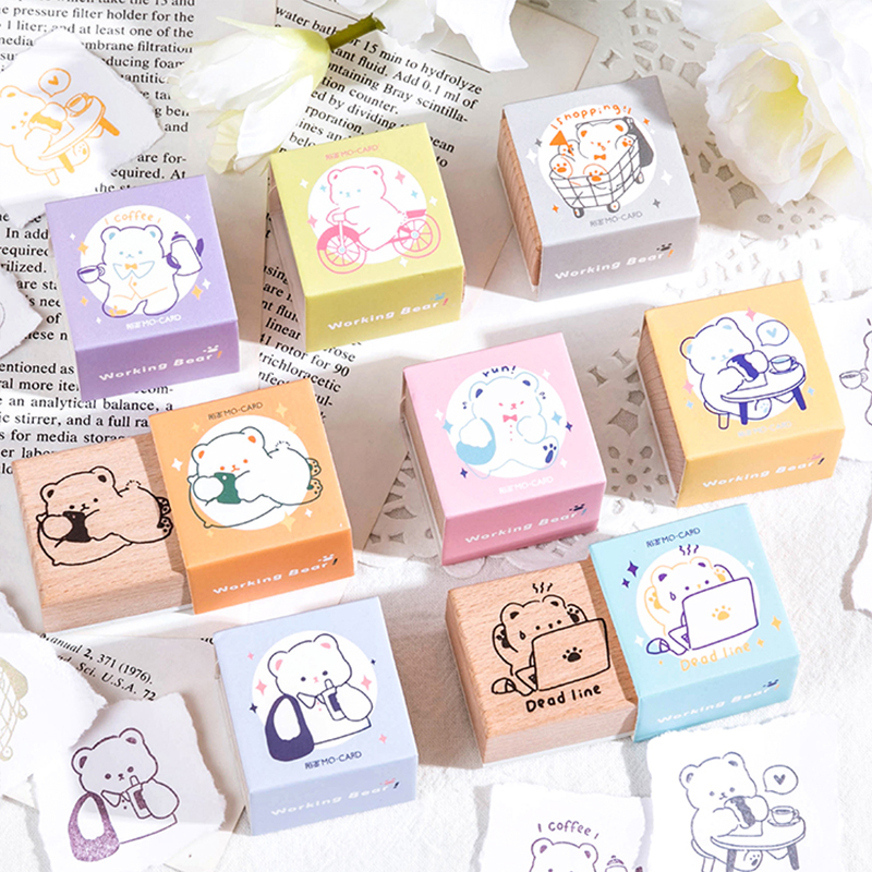 Cute Cartoon Bear worker series decoration stamp wooden rubber stamps for scrapbooking stationery DIY craft standard stamp