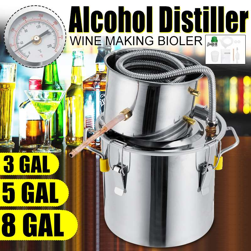 Durable 3/5/8GAL Distiller Moonshine Alcohol Distiller Stainless Steel DIY Home Water Wine Essential Oil Brewing Kit