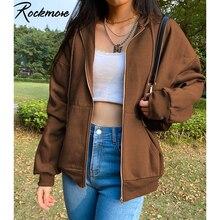 Rockmore marron sweats à capuche femmes sweat à capuche poche veste Harajuku vêtements Femme 2020 automne à capuche fermeture éclair haut coréen