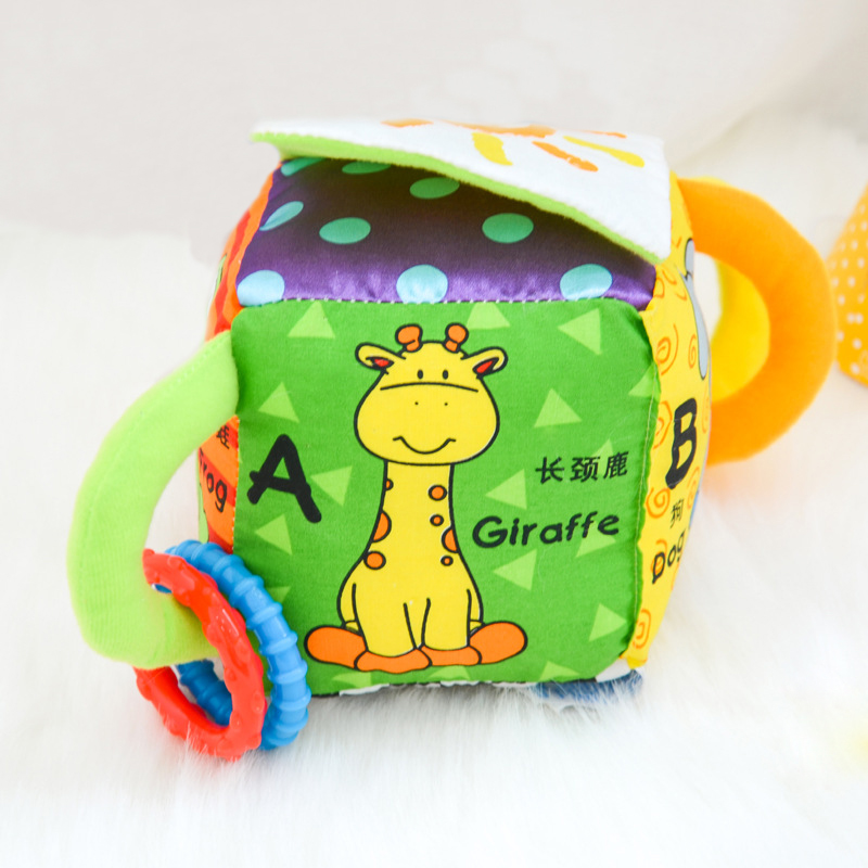 0 12 months Educational Baby Toys New Infant Stuffed Doll Mobile Plush Cloth Building Block Set Soft Cube Rattle Toy For Kids in Baby Rattles Mobiles from Toys Hobbies