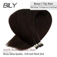 BILY чёрный; коричневый человеческих волос для наращивания на Волосы Remy расширения 10A Класс высокое качество бразильские волосы на кератинов...