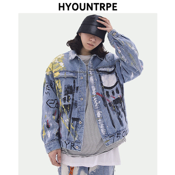 Fashion Hand Painted Denim Jackets Coat Mens Casual Single Breasted Loose Streetwear Designer Clothes Hip Hop Outerwear Jacket