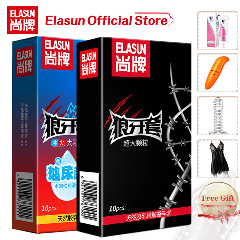 ELASUN Condom With Large Spike Contraception Sex Products Fire & Ice Penis Cock Sleeve Big Particles Condoms For Men With Gifts