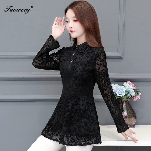 Hollow Out Lace Blouse Shirt Ladies 2020 Spring Summer Sexy stand collar Tops Casual Elegant black solid Blouses Plus Size 2