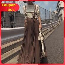 Женское плиссированное платье на подтяжках, осень, корейский стиль, на бретелях, длинные платья, элегантное, повседневное, винтажное, женское платье, коричневый/розовый