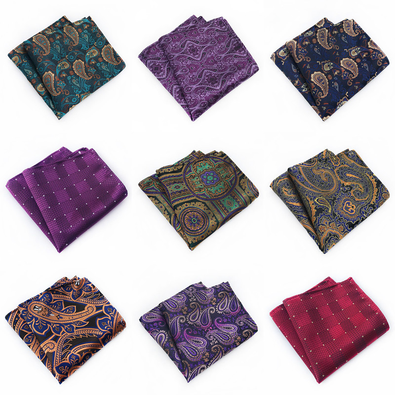 2020 New Solid Paisley Striped Design Silk Handkerchiefs For Men Green Purple Red Gold Mans Wedding Pocket Square Wholesale A067