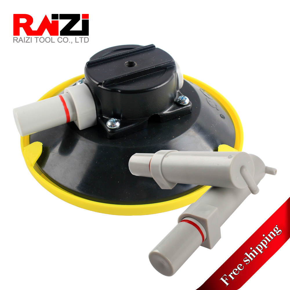 Raizi 6 Inch Vacuum Suction Cups Mount Base with Two Gas Pump, Hand Vacuum Pump Glass Sucker M6 Female Thread
