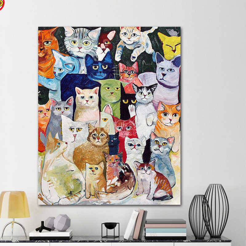 DIY colorings pictures by numbers with colorsA lot of cat picture drawing painting by numbers framed Home