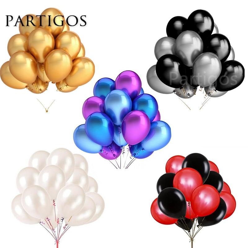 30 pçs/lote 2.2g 10 polegada pérola ouro prata preto látex balões aniversário decoração da festa de casamento ar hélio globos crianças presentes suprimentos