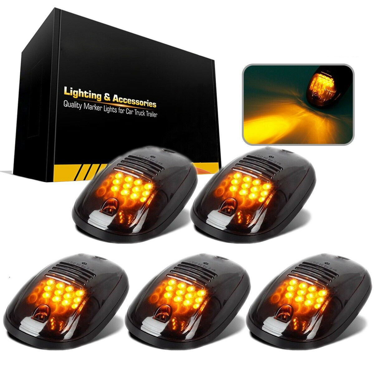 5Pcs Smoked 12 LED Cab Roof Running Clearance Marker Light Assembly Amber For Dodge Ram Truck Light System