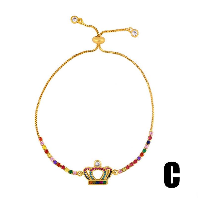 OCESRIO kobiety modne bransoletki 2019 Rainbow krzyż serce 24k złota biżuteria para urok i bransoletki tenisowe Pulseras Mujer brt-b78