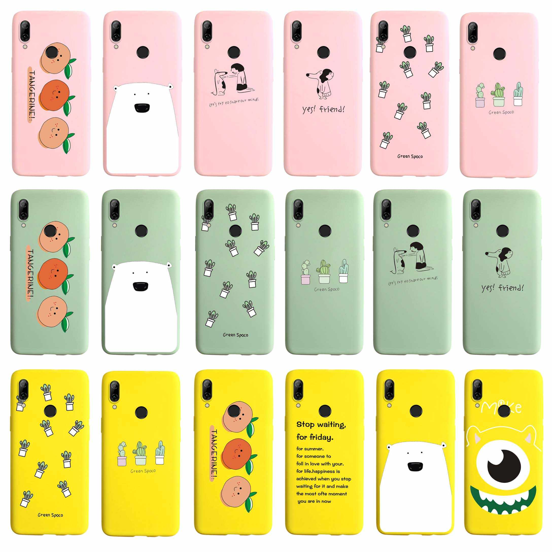 Candy Color Soft Case For Huawei P Smart 2019 Cases Cactus Heart Painted Cover For Huawei PSmart 2019 POT-LX1 POT-LX3 Coque Capa