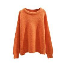 Свитер для женщин 2020 осень зима Однотонный пуловер с круглым