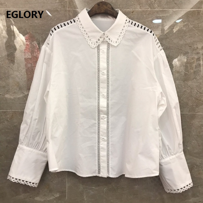 100%Cotton Shirts 2019 Autumn Casual White Black Blouses Women Turn-down Collar Hollow Out Embroidery Long Sleeve Shirt Blusas