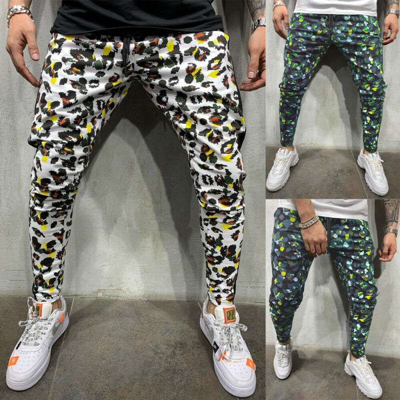 2020 HOT Men Flower Pants Hip Hop Harem Joggers Pants New Male Trousers Mens Joggers Patchwork Pants Sweatpants