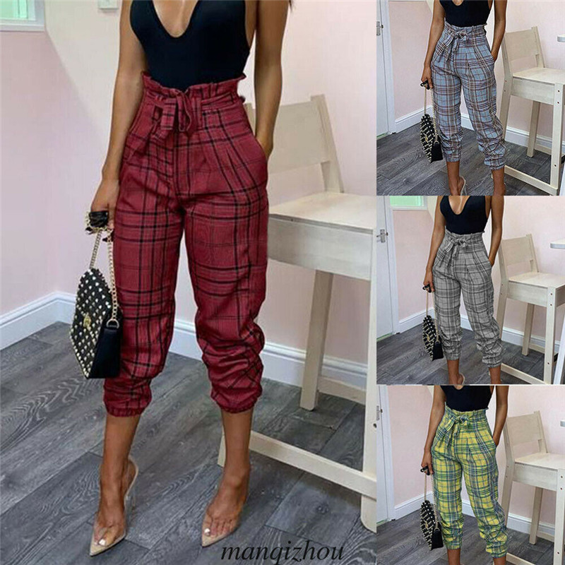 2019 New Women High Waist Checked Plaid Harem Casual   Pants     Capris   With Belt Lace-up Loose Fit OL Work Long   Pants   Jogger Trousers