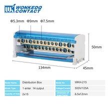 Blocos de terminais do trilho wkh215, caixa universal de blocos de distribuição de energia de conexão modular do parafuso elétrico