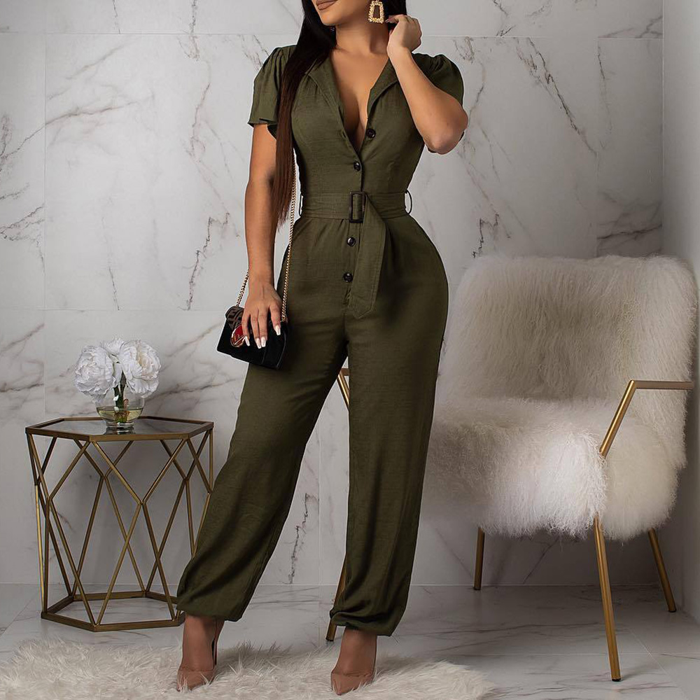 Sexy Solid Color High Waist Belt Jumpsuits 2020 Summer African Women Rompers Casual Female Short Sleeve Jumpsuits Rompers Green
