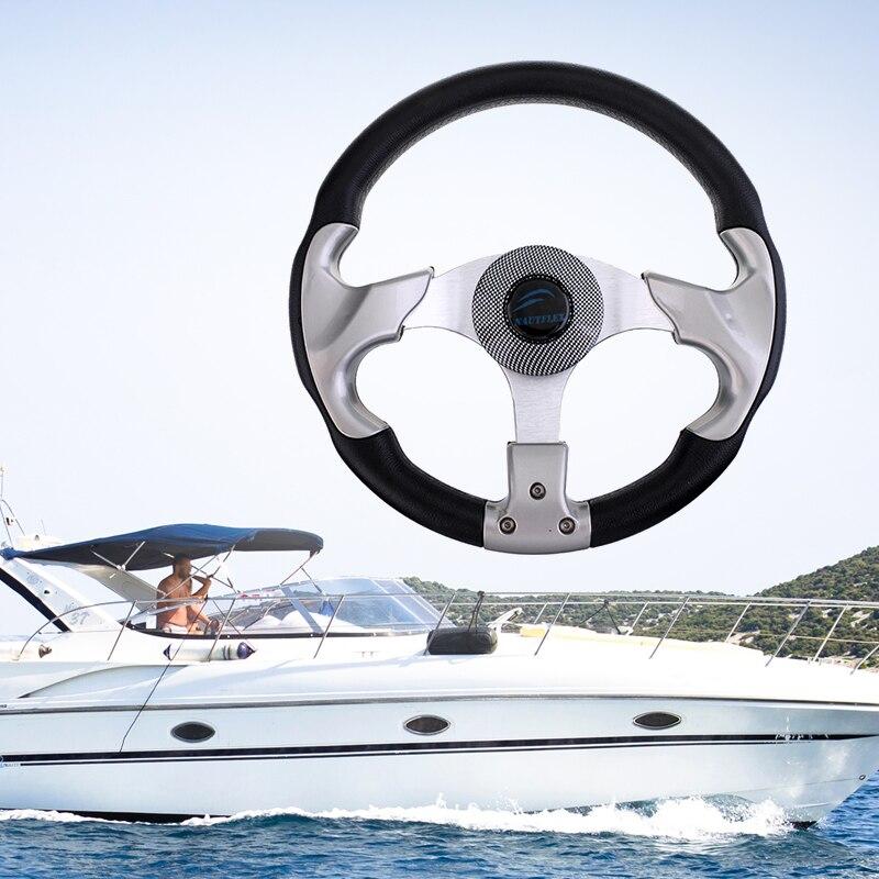 Volante marino de 12,4 ''315mm y eje cónico de 3/4'' volante de 3 radios no direccional para accesorios de barcos yates