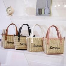 Women's Bag Summer Beach Vocation Cartoon Printing Net Yarn Shoulder Shopping Bag Ladies Casual Small Tote Purse Handbags