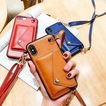 Funda trasera de cuero con tarjetero para Samsung S9 10 Plus 10E Note 10 funda de correa de hombro para iPhone 7 8Plus X XR XSMax